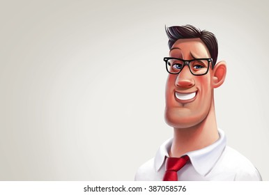 Character office worker man. Illustration.