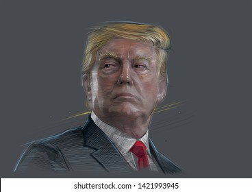 Character portrait of Donald Trump is the 45th President of the United States, since January 20, 2017. - ภาพประกอบ