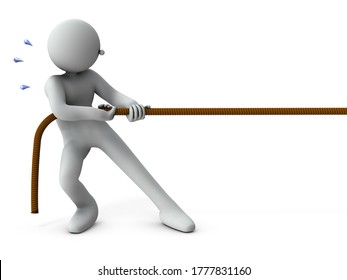 A character pulling a rope. Tug of war. White background. 3D rendering.