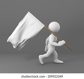character walking and carrying a white flag of peace