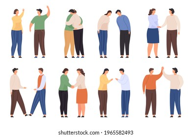 Characters with greeting gestures. People greet with waving, handshake, hug and high five. Flat man and woman bow. Polite welcome  set. Illustration character person handshake greeting