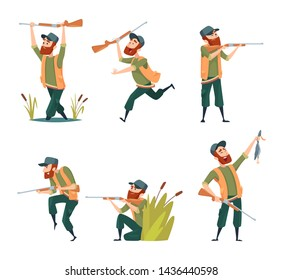 Characters of hunters. cartoon illustrations of various hunter mascots. Hunter character with rifle and duck
