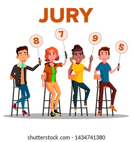 Characters Jury With Sign Boards Show Score . Competition Jury Young Man And Woman Contest Judges Sitting On Chair With Scorecards. Judging People Committee Flat Cartoon Illustration