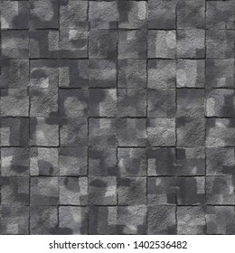 Charcoal Broken Tiles Textured Distressed Background. Seamless Pattern.