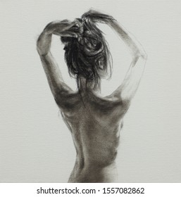 Charcoal painting of nude woman on canvas. Woman bare back. Naked girl tying hair back.