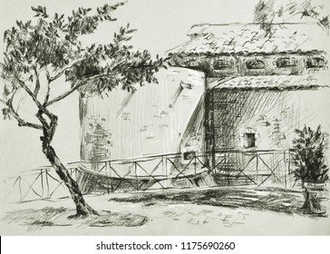 charcoal sketch of a landscape with a tree and a fortress