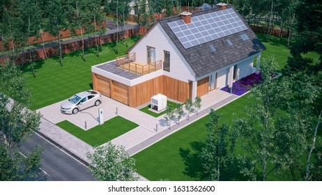 charge electric car at home in suburban residential neighbourhood 3d illustration