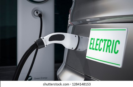 Charging a car which has a number plate with 'electric' written on it close up 3d illustration