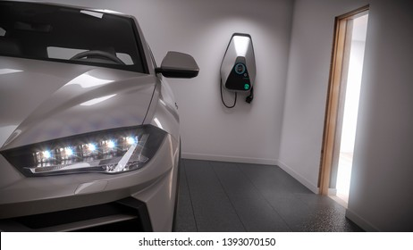 charging electric car generic suv in garage 3d rendering