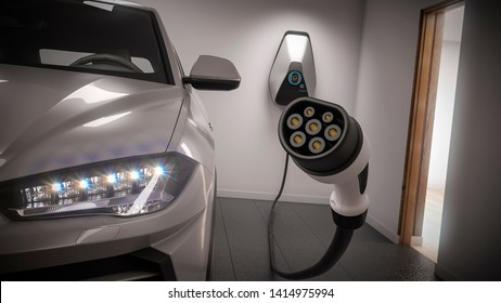 charging electric car generic suv in garage focus on power plug 3d rendering