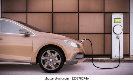 Charging electric car suv on a city parking lot the future of mobility 3D rendering illustration