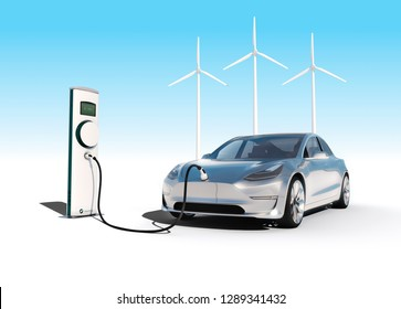 Charging electric car with wind power electricity blue background 3D illustration