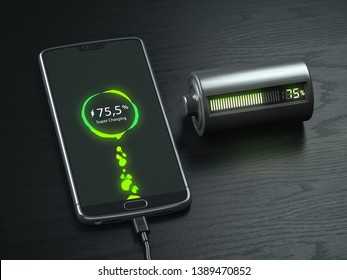 Charging of a mobile phone battery concept.  Smartphone and battery charge indicator on black wooden table. 3d illustration
