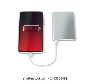 Charging modern smartphone with a power bank, 3D illustration