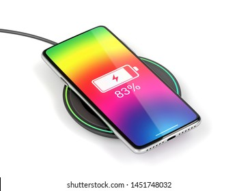 Charging the smartphone with wireless charger, 3D illustration