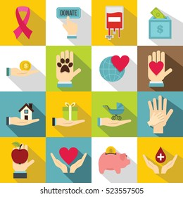 Charity icons set. Flat illustration of 16 charity  icons for web