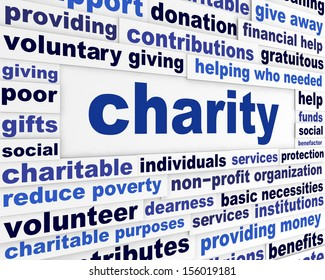 Charity social issue message. Voluntary giving creative words design