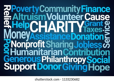 Charity Word Cloud on Blue Background