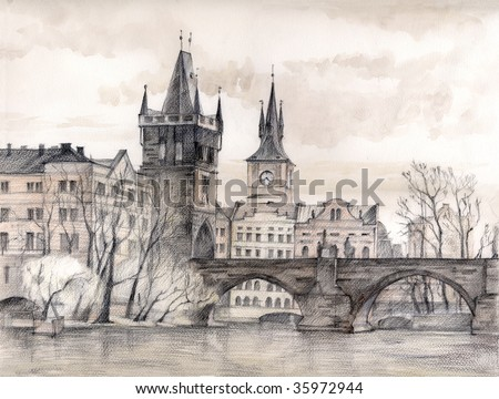 Charles Bridge Prague Czech Republic Drawing Stock Illustration