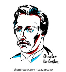 Charles De Coster engraved portrait with ink contours. Belgian novelist whose efforts laid the basis for a native Belgian literature.