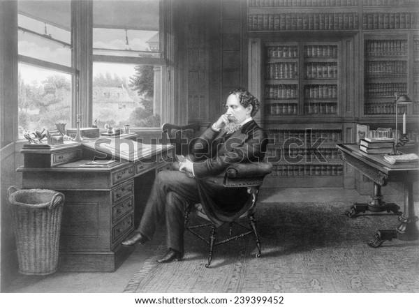 Чарльз Диккенс (1812-1870) в своем исследовании на Гадс Хилл Плейс.