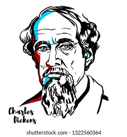 Charles Dickens engraved portrait with ink contours. English writer and social critic.