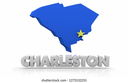 Charleston South Carolina SC City State Map 3d Illustration