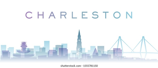 Charleston Transparent Layers Gradient Landmarks Skyline