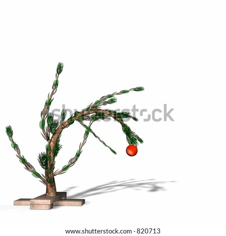 Charlie Brown style Christmas tree. Scrawny little tree is bent over with the weight of one lone bulb. Bah Humbug Series