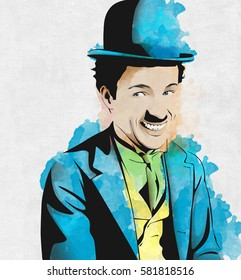 Charlie Chaplin In Colors