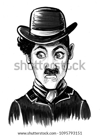 Charlie Chaplin portrait Ink