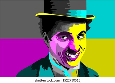 Charlie Chaplin smiling, colored CMYK, with abstract background.