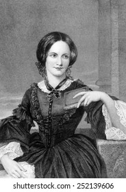 Charlotte Bronte (1816-1855), British author. Engraving from an original painting by Alonzo Chappel printed in the early 1870s.