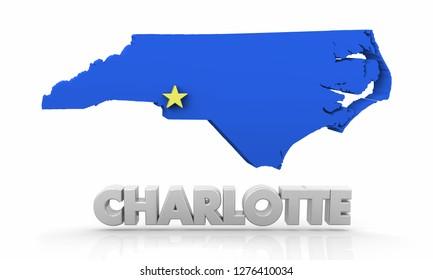 Charlotte NC North Carolina City State Map 3d Illustration