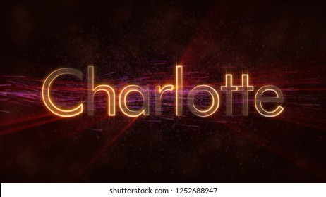 Charlotte - United States city name text animation - Shiny rays looping on edge of text over a background with swirling and flowing stars