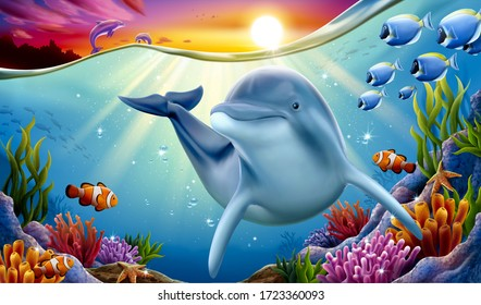 Charming dolphin playing at coral reef underwater with other dolphins breaching and dreaming sunset hanging above water surface, 3d illustration