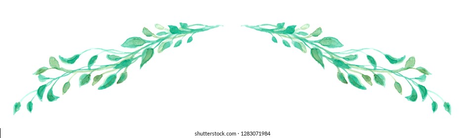 Charming green watercolor leaves in a long stem or branch swag illustration for a border design or chapter underline divider, hand painted ivy