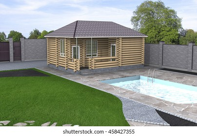 Charming vintage style highlight into the yard landscaping, 3d render