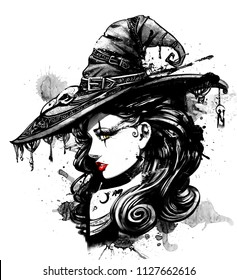Charming witch in a big fancy hat