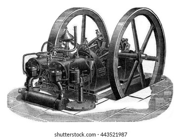 Charon engine with two cylinders, vintage engraved illustration. Industrial encyclopedia E.-O. Lami - 1875.