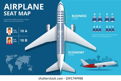 Chart airplane seat, plan, of aircraft passenger. Aircraft seats plan top view. Business and economy classes airplane indoor information map. Illustration of Plane on ultraviolet background.