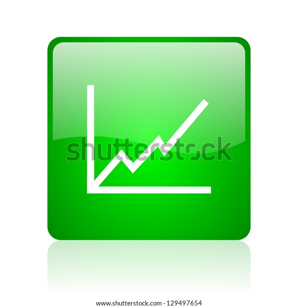 chart green square web icon on white background