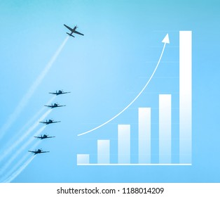 Chart model representing the ascension of a airplane flying up standing out from the others, illustrating a success case. Growing up bars graphic, arrow up. Increase on sales graphic with airplanes.