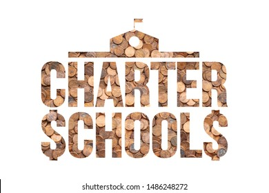 Charter Schools Profit from Public Education Funds, Pennies Concept