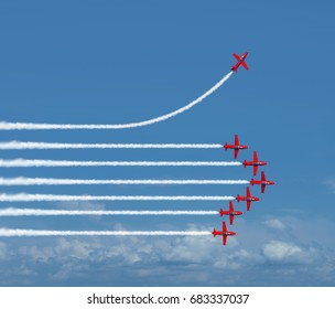 Charting a different path business concept as an independent free thinker idea with air show jets in a formation with one individual plane setting a new course with 3D illustration elements.