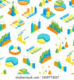 Charts and Graphs Seamless Pattern Background on a White 3d Isometric View for Design Documents, Reports, Presentations or Promotion. illustration of Chart and Graph