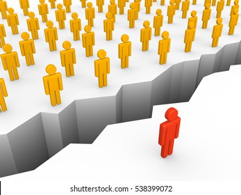 Chasm between human and crowd. 3d render.