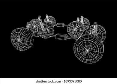 Chassis steering rack. Wireframe low poly mesh 3d render illustration. Auto service repair car concept.