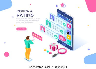 Chat, best community customer review, communication, satisfaction of buying products. Connection, scale for rating concept with icons. Flat isometric illustration.