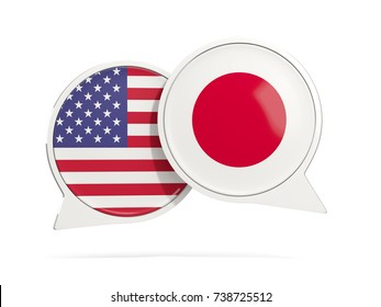 Chat bubbles of USA and Japan isolated on white. 3D illustration